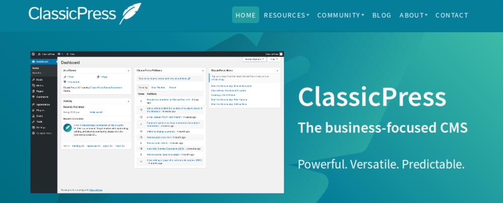 Header of classicpress.net website